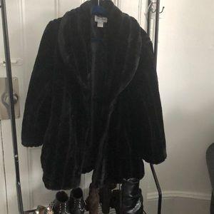 Oversized black fur coat
